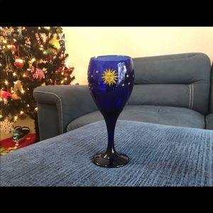 Vintage Libbey Cobalt Blue Celestial Wine Glass